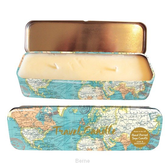 Travel Candle - Vintage Map Blue