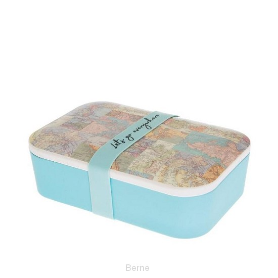 Bamboe lunch box COLLAGE vintage world map