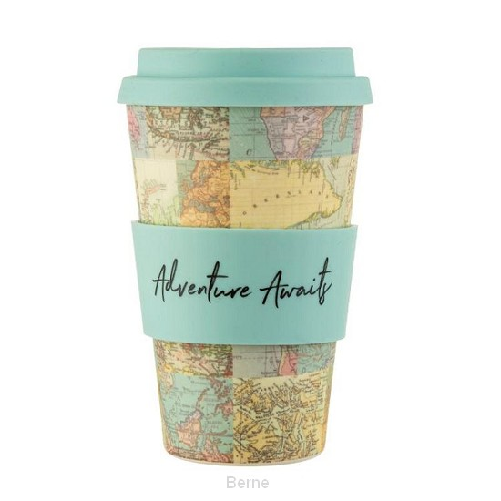 Bamboe drinkbeker COLLAGE vintage world map
